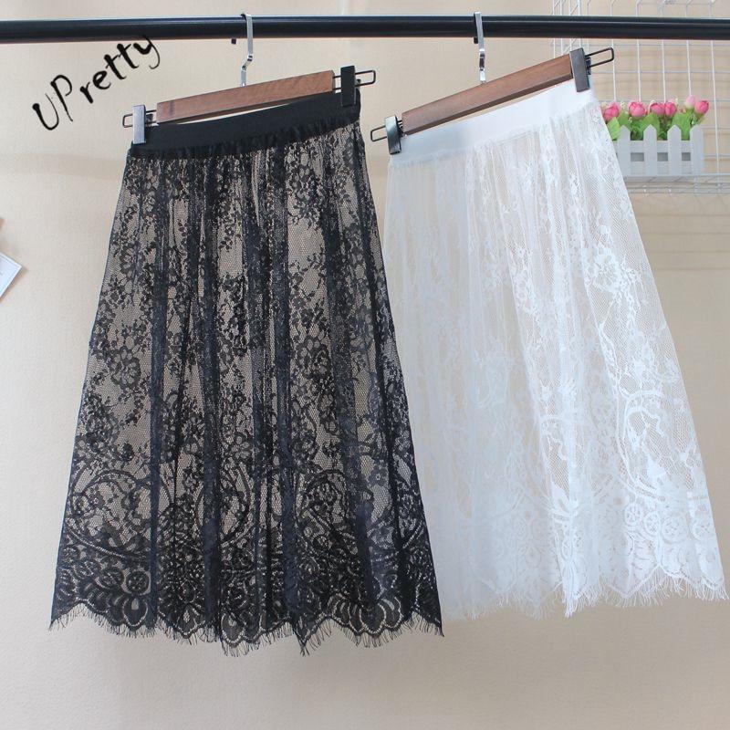 Women Sexy Lace Mesh Skirt Spring Summer Casual High Waist Elastic Hollow Out A-Line Transparent One Layer Tassel Short Skirt 6