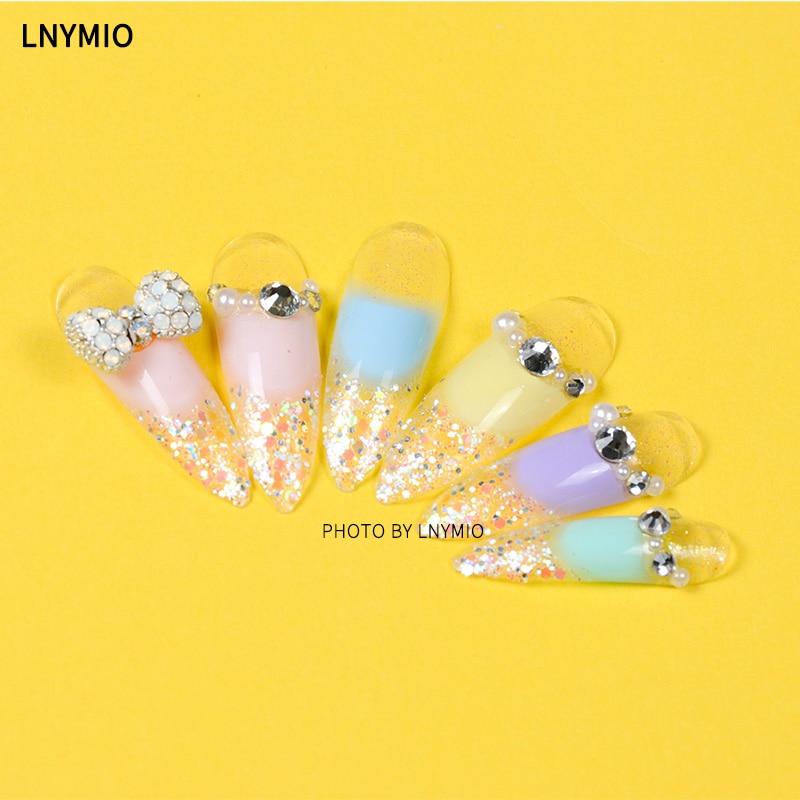 Dulces muy largos decoración uñas postizas rosa amarillo azul - Arte de uñas