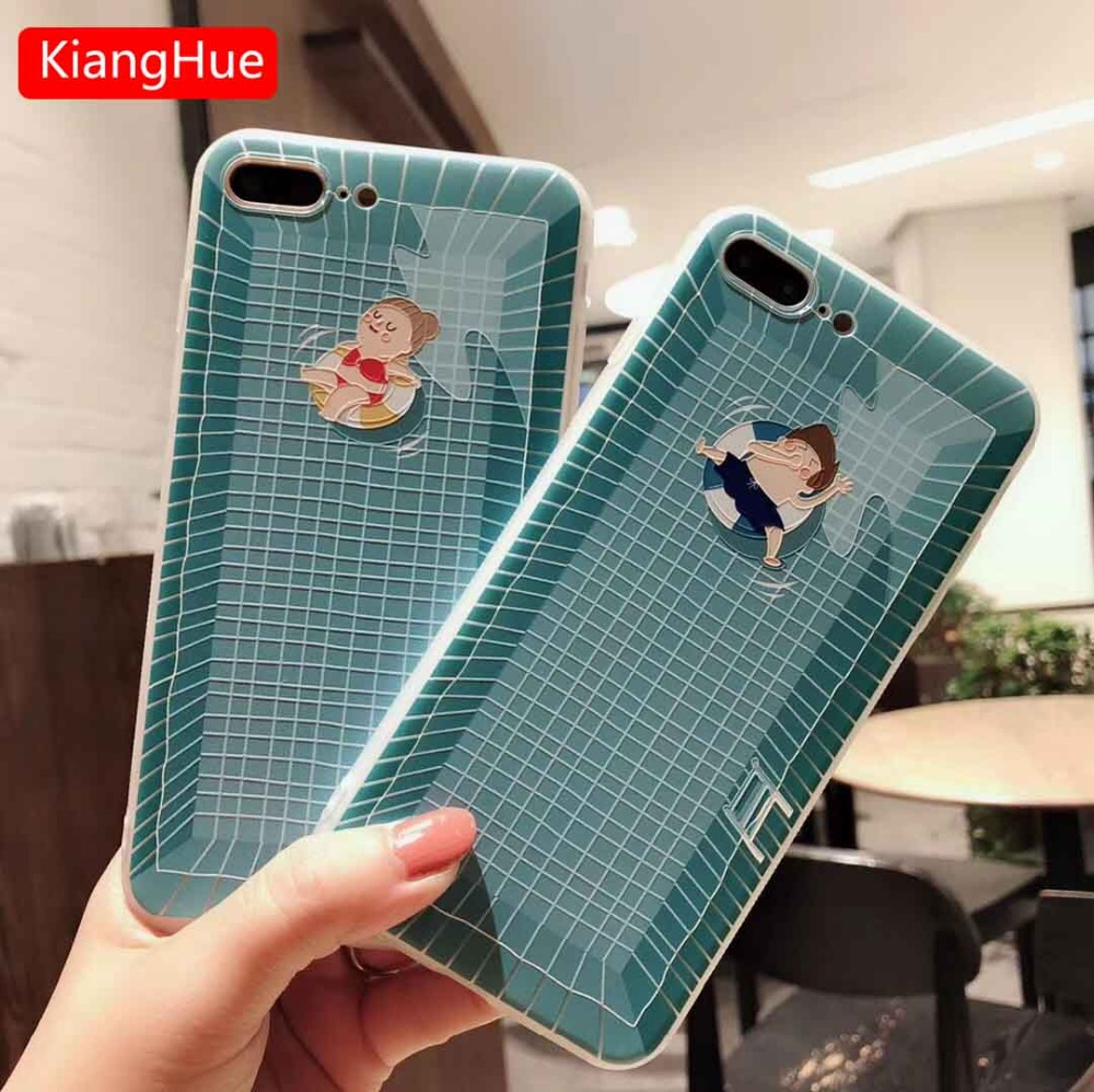 uk availability 287a3 27c8b US $2.0 33% OFF|Summer Swimming Pool Painting Phone Case For iPhone7 7 Plus  Case Mobile Phone TPU Case For iphone X 6 6S 8 Plus Shockproof Case-in ...