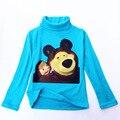 Meninos E Meninas de Outono Inverno Roupas de Manga Comprida de Gola Alta Camisa de Algodão Dos Desenhos Animados Masha Eo Urso Camiseta Assentamento Camisa