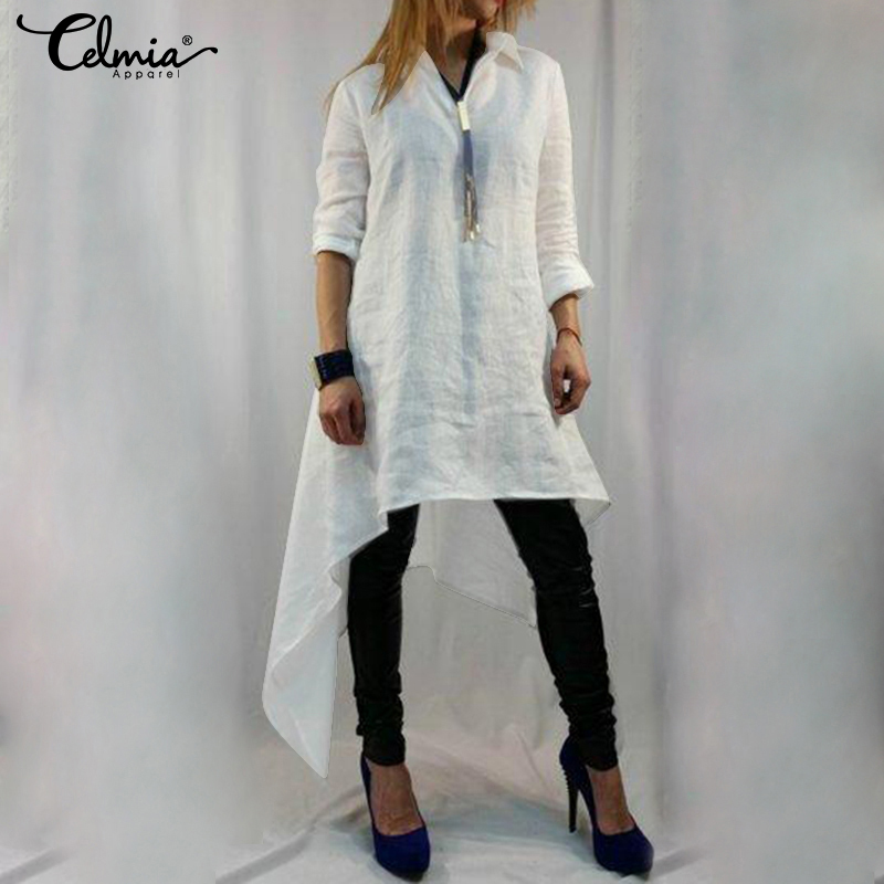 Plus Size Tunic Tops Celmia Women Retro Blouse 2019 Summer Asymmetrical Long Shirts Casual Loose Solid Blusas Chemiser Femininas