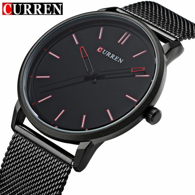 Prix pour Mode Top marque De Luxe CURREN Montres Hommes Acier Maille bracelet À Quartz-montre Ultra Mince Cadran Horloge Hommes Relogio Masculino 8233