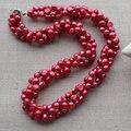 Очаровательная реального ювелирные изделия перлы, витой красный барокко пресной воды жемчужное ожерелье, 6 - 7 мм 18 дюйм(ов) ожерелье, свадебные ну вечеринку ювелирные изделия