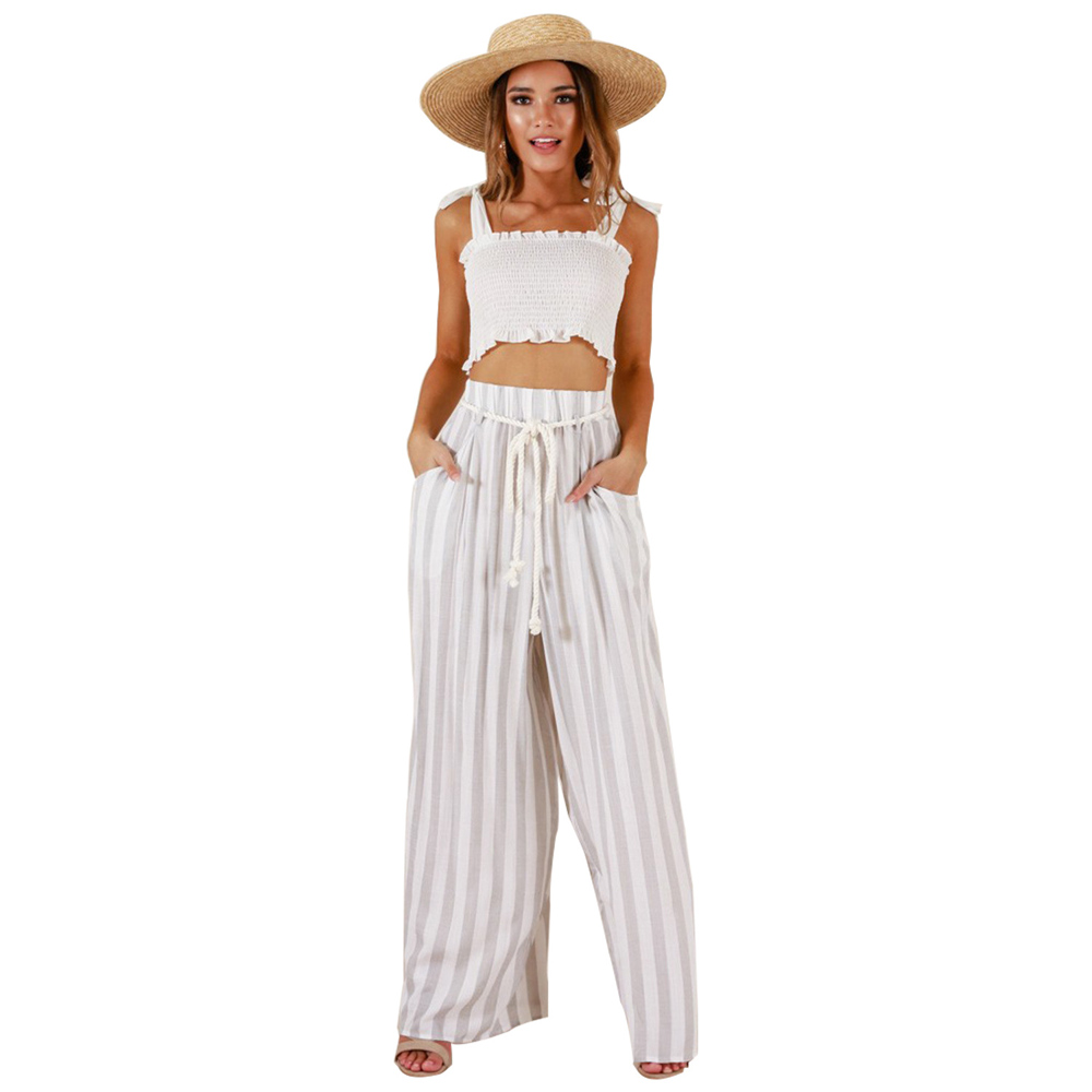 2019 Fashion Summer Bohemian Striped   Wide     Leg     Pants   Women Casual High Waist Palazzo   Pants   Loose Trousers Women pantalon mujer