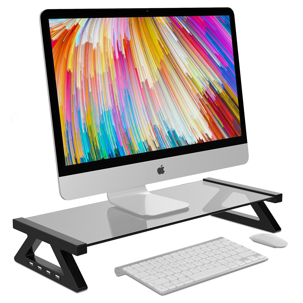 Aluminum Alloy Monitor Stand Space Bar Dock Desk Riser with 4 USB Ports for iMac MacBook Computer Laptop Below 20Inch