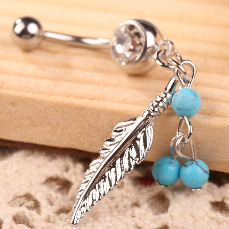 HTB1f_LtPVXXXXXYXFXXq6xXFXXXm Women Sparkling Feather Pendant Belly Button Ring Body Piercing Jewelry