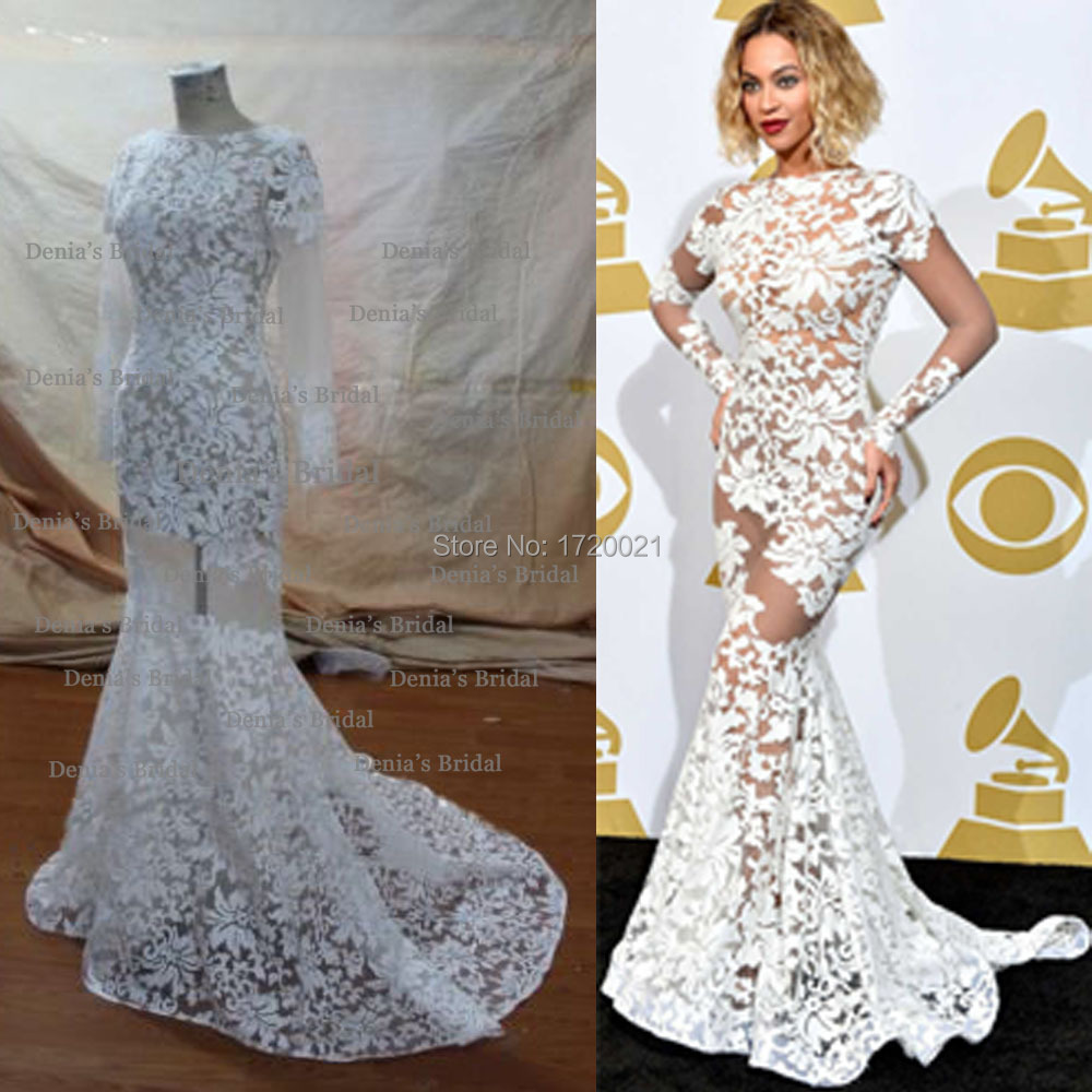 Real Image High Neck Court Train Beyonce Sheer Celebrity Dress ...