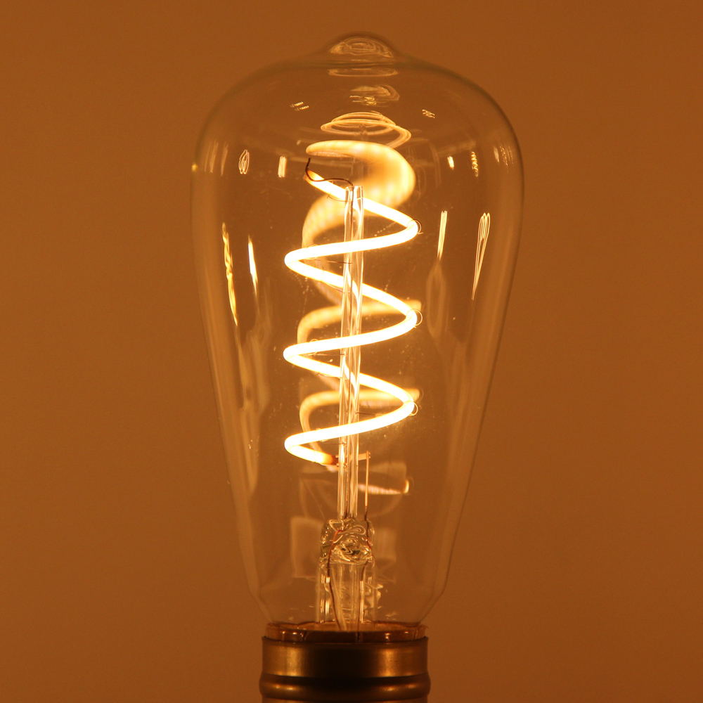 Dimmable E27 Retro Vintage Flexible LED Edison Spiral Filament Light Bulb Lamp