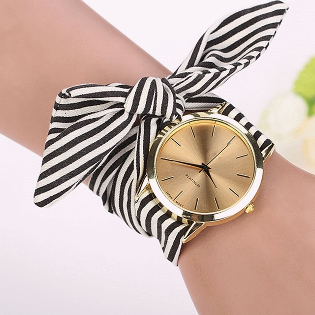 relogio feminino women watches Stripe Floral Cloth Band Clock Dial Bracelet Quartz Wristwatch erkek kol saati Montre Femme 2017
