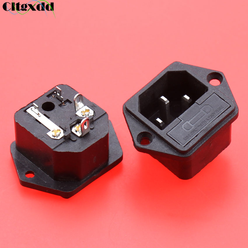 Cltgxdd 1pcs AC 10A 250V Power Socket Industrial Socket C14 Type Power ICE With Fuse Holder 2 In 1 , 4 Pin