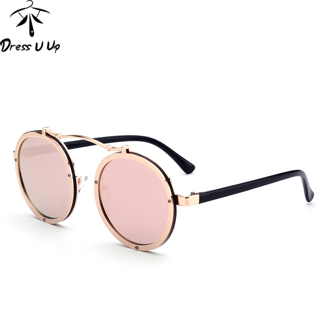 1bb4e98085a DRESSUUP 2017 Gothic Steampunk Sunglasses Men Women Metal Wrap Eyewear Round  Shades Brand Designer Punk Sun