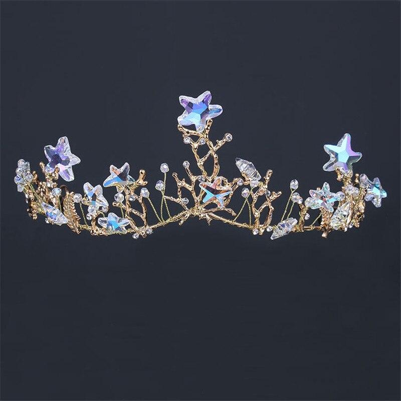 Сияющая Морская звезда свадебная тиара невесты украшения для волос для женщин Выпускной украшения для волос Аксессуары Золотая Лоза Чаплет свадебная корона