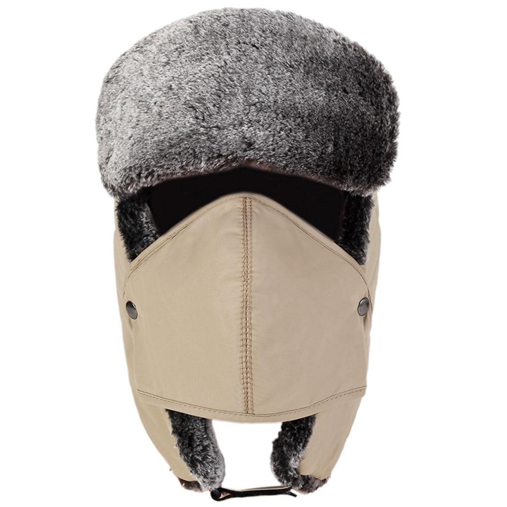 b1204473da8 Dropwow Mens Womens Hats Unisex Warm bomber hat Trapper Aviator Trooper Ear  flap Winter Ski Hat Mask Plus thick