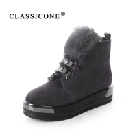 CLASSICONE 2018 shoes woman winter wool snow ankle boots genuine leather suede inside warm brand fashion flats no slippery sexy