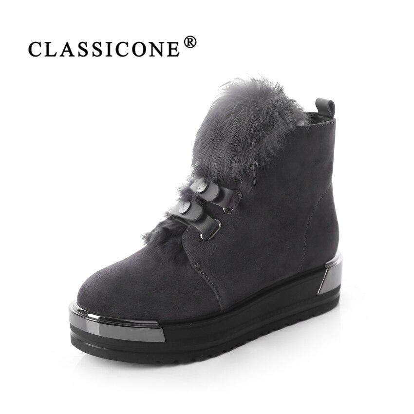 CLASSICONE 2018 zapatos mujer Lana invierno nieve tobillo botas de gamuza de cuero genuino interior caliente marca moda pisos no resbaladiza atractivas
