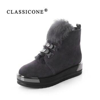 CLASSICONE 2018 zapatos botas mujer Lana invierno nieve tobillo botas zapatos de 2db37a