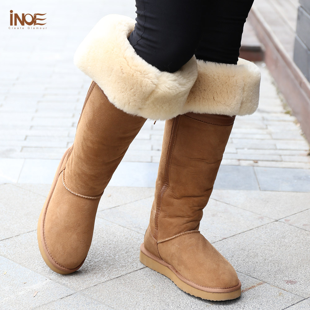 Fashion Style Over The Knee High Bowknot Tall Fur Lined Snow Long Boots For Women Winter Shoes Nature Sheepskin Leather Brown