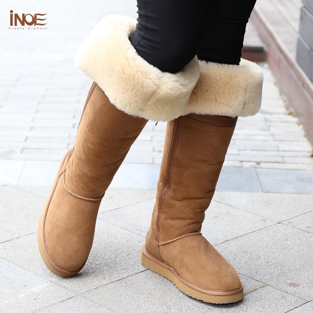 Moda estilo sobre la rodilla alto Bowknot alto piel forrada nieve botas largas para mujeres zapatos de invierno piel de oveja natural marrón