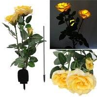 Nouveau mode Creative Solaire Puissance 3 Rose Fleur LED Lumière Jardin Cour Pelouse Décoration Lampe De Vue Rouge Jaune Blanc Rose