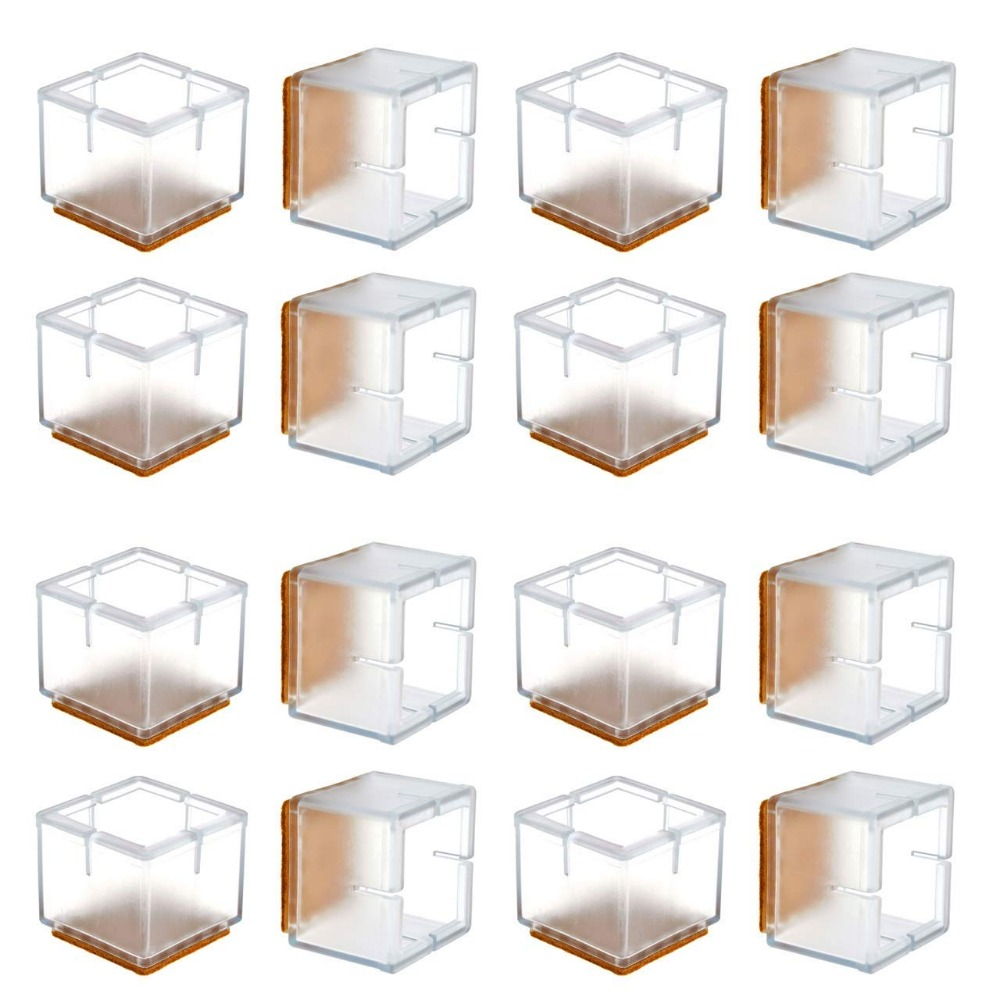 16Pcs  Chair Leg Floor Protectors, Transparent Clear Silicone Table Furniture Leg Feet Tips Covers Caps, Felt Pads, Preve