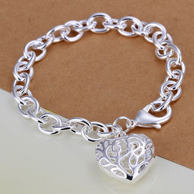 8b7368d90a4f0 US $1.69 |Women's Sweetheart Hollow out Heart Bangle Bracelet New Style  Silver fashion jewelry Solid thick bracelet-in Chain & Link Bracelets from  ...