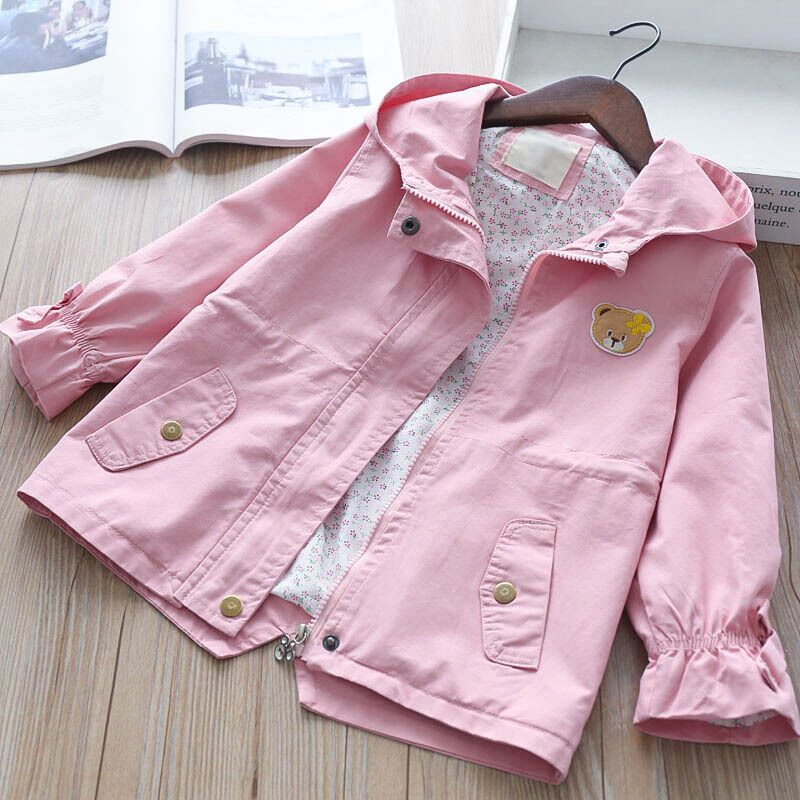 2018 Kids Jackets For Girls Hooded Flower Embroidery Baby Girls Windbreaker Jacket Girls Jackets And Coats Autumn Kids Outerwear scratch kids girls outerwear denim jeans jackets for children embroidery flower baby girl coats infant autumn clothing outfits