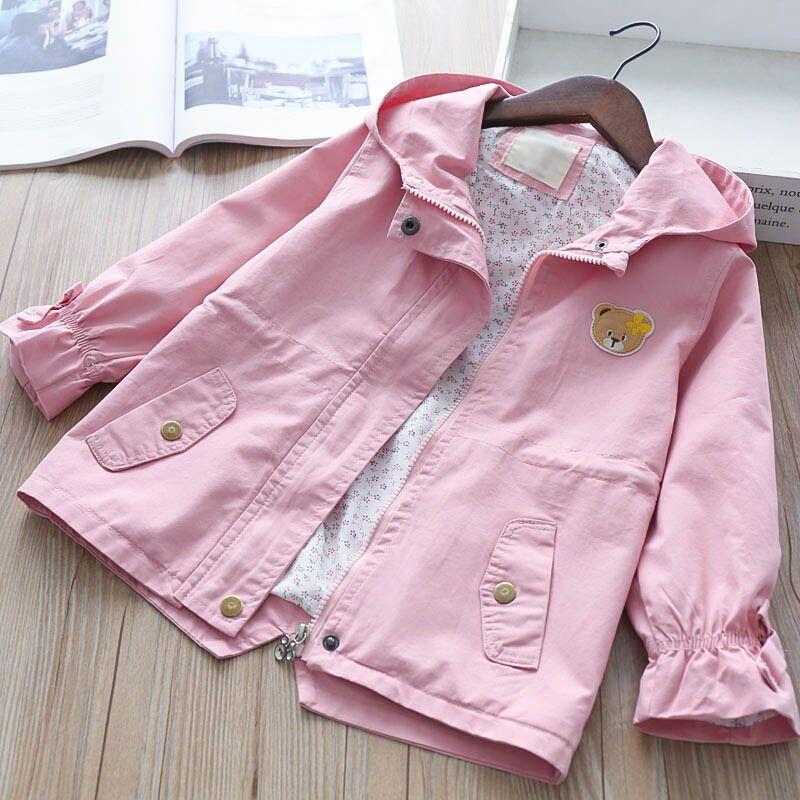 2018 Kids Jackets For Girls Hooded Flower Embroidery Baby Girls Windbreaker Jacket Girls Jackets And Coats Autumn Kids Outerwear