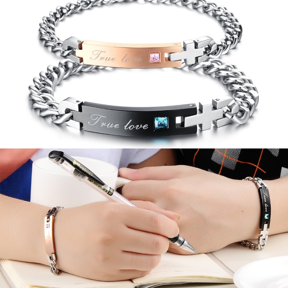 792e2dc86a High Quality Stainless Steel Jewelry True Love His and Hers Anniversary  Gift Couple Bracelet Set