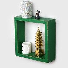 Modern Simple Style Creative Lattice Wall Hanging Decorative Rack Household Hook Type Wooden Storage Rack