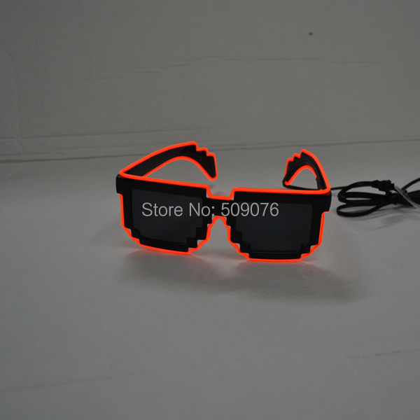Free Shipping50pcs/lot EL Wire Glasses EL mosaic sunglasses in various color, style,Sound activated glasses for party supplies
