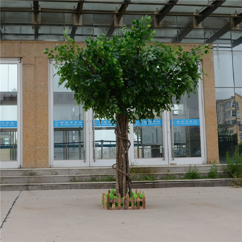 Искусственный фикус, микрокарпа, искусственное большое дерево, поддельные деревья, большое растение, украшение для отеля, лобби, композиция - 6