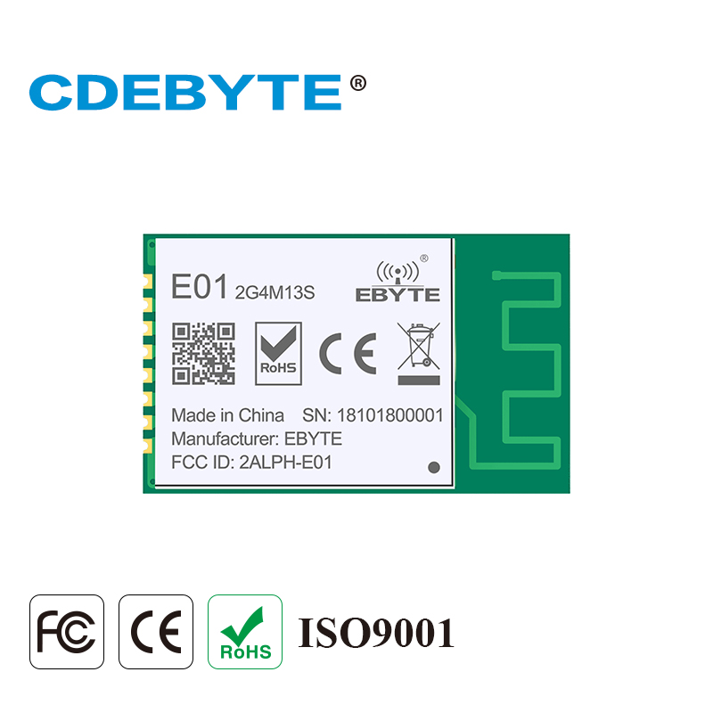 CDEBYTE E01-2G4M13S nRF24L01 PA LNA <font><b>2.4</b></font> <font><b>ghz</b></font> 20mW Wireless Transceiver 2.4GHz nRF24L01P PCB Antenna rf <font><b>Transmitter</b></font> and Receiver image