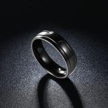 Кольцо обручальное мужское из титановой стали черного цвета