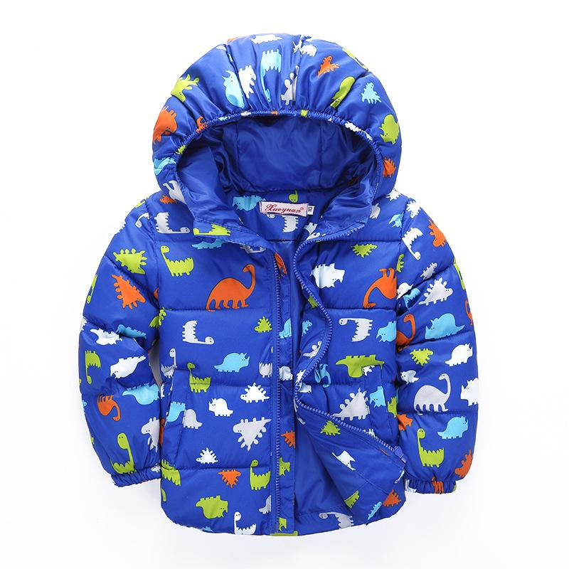 Winter Children Down Coat 2017 New Cartoon Dinosaur Thicken Warm Kids Jaclets for Boys Girls Casual Hooded Toddlers Outerwear children s clothing cartoon dinosaur boys parka winter jacket for girls 2016 down cotton wadded jacket kids thicken hooded coat