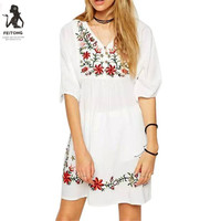 48a987da2b 2019 Fashion Solid Casual Dress Women Mexican Ethnic Embroidered Pessant  Hippie Blouse Gypsy Boho Mini Dress