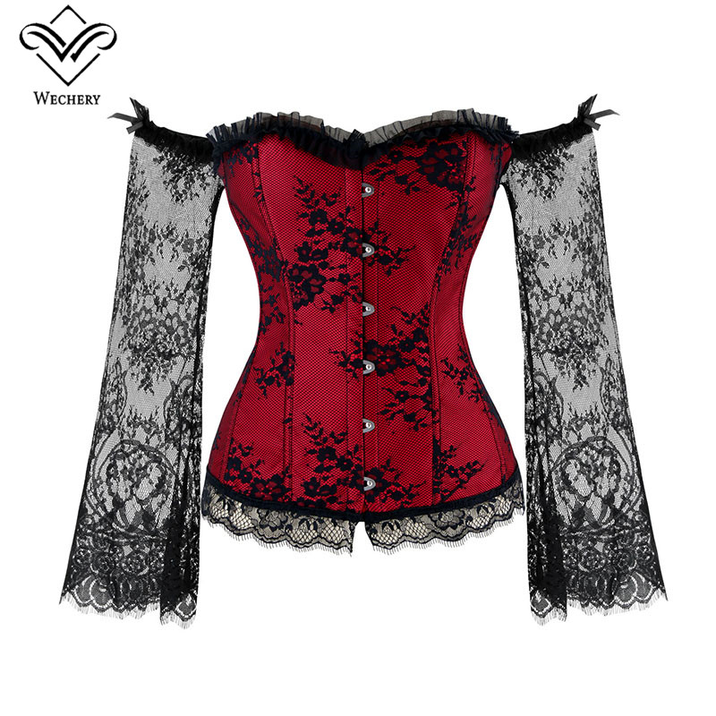 Wechery Women Steampunk Corset Sexy Long Sleeve Lace Corselet Lace Up Bustiers Korset For Posture Party Club Wedding Plus Size