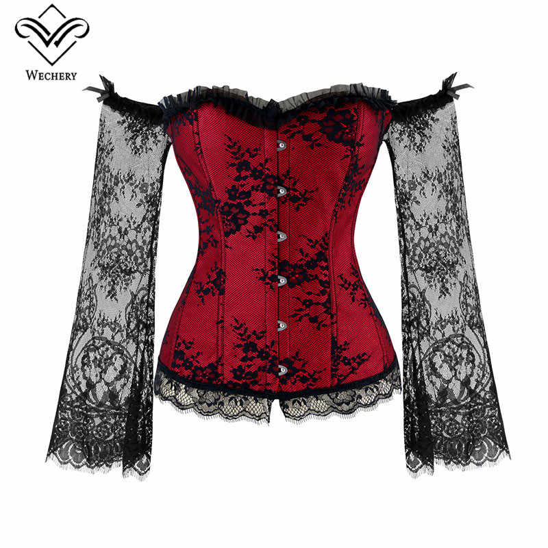 4c2036e653f Wechery Women Steampunk Corset Sexy Long Sleeve Lace Corselet Lace Up  Bustiers Korset For Posture Party