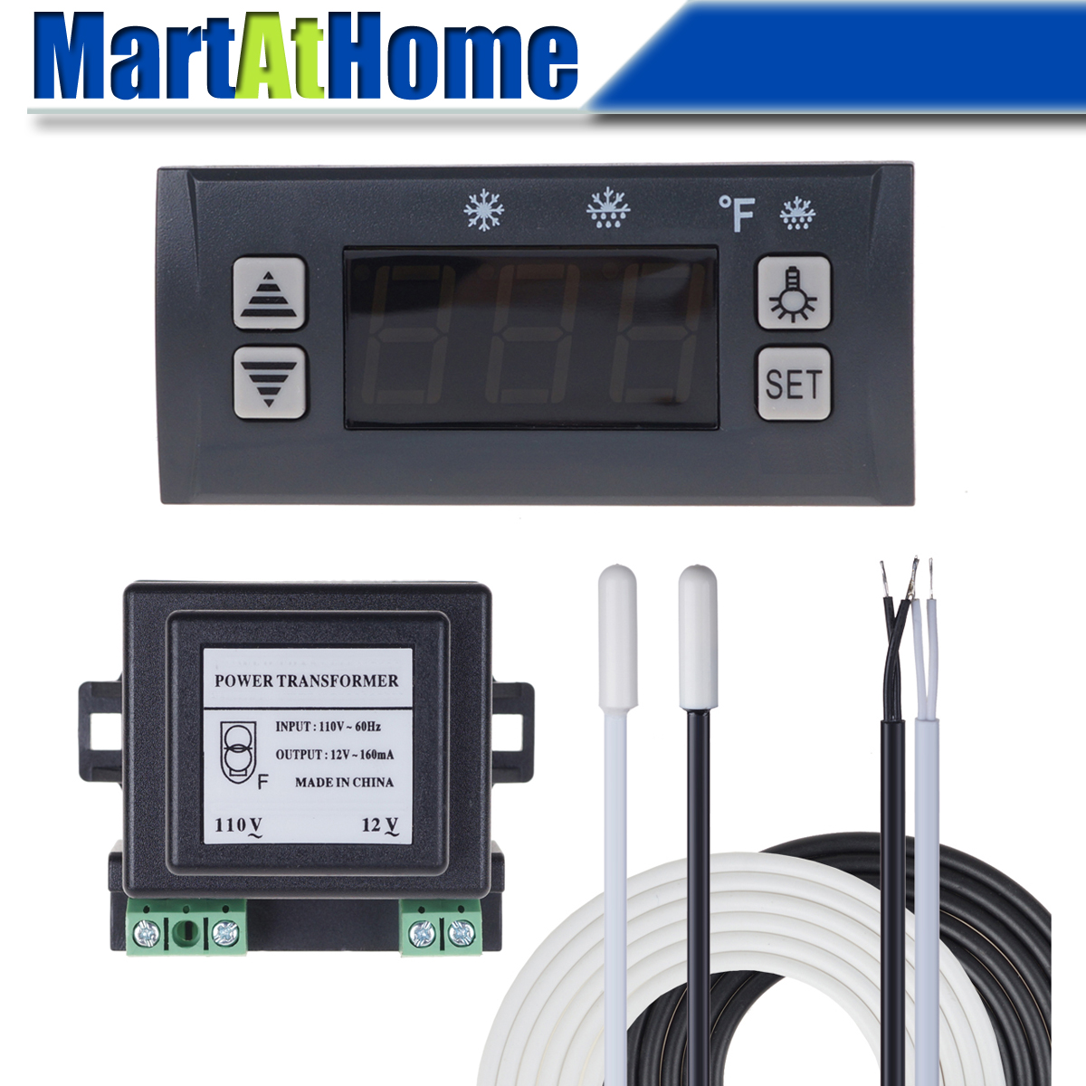 Digital Temperature Controller Electronic Thermostat -40 To 120°F -45 To 45℃ Switchable Defrost Two NTC Sensor Probes For Refri