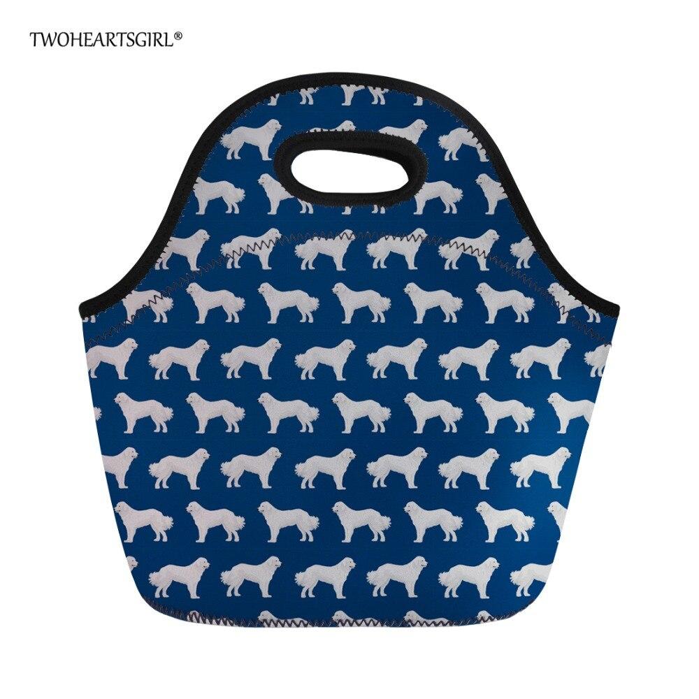 Twoheartsgirl 3D Neoprene Thermal Lunch Bag Tote Insulated Pyrenees Dog Cooler Food Storage Bag Children Kids Lunchbag Novelty
