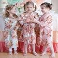 Crianças Flor Vestido de Casamento Stain Robes Para As Meninas Floral Camisola de Seda Quimono Roupão de Banho das Crianças Partido Da Dama de honra Vestidos de Noite