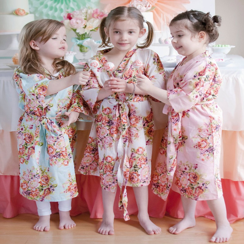 Kids Flower Gown Wedding Stain Robes For Girls Floral Silk -9704