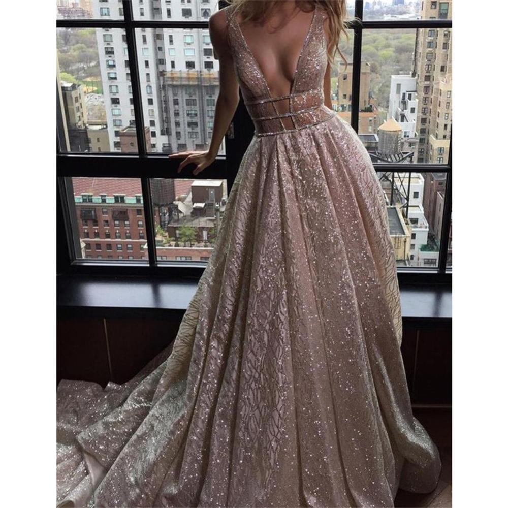 Sexy Spaghetti Straps A-Line Deep V-Neck Train Open Back Champagne Sequine   Prom     Dress   Beading Evening   Dresses   robe de soriee