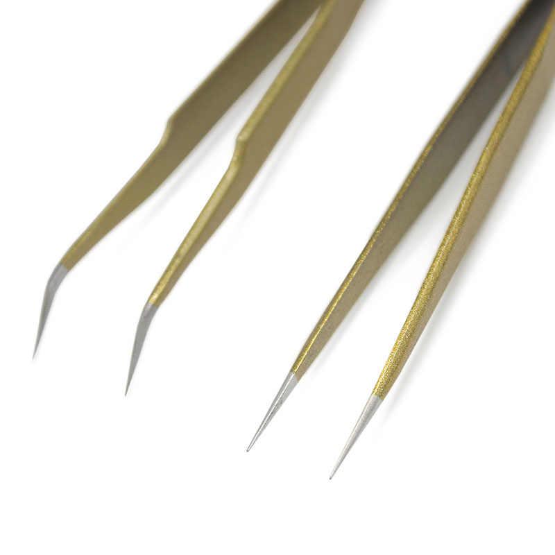 1 stücke Neue Edelstahl Industrie Anti-statische Falsche Wimpern Gekrümmte Gerade Pinzette Make-Up Hervorragende Werkzeuge Qualität Freies