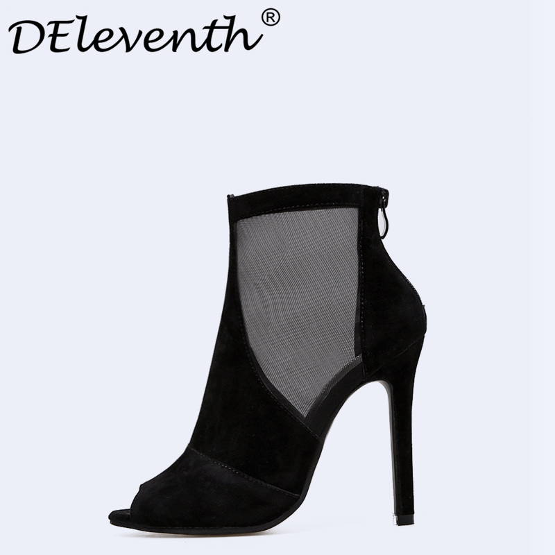 New 2018 Spring Summer Shoes Women High Heel Cool Boots Fashion Women's Boots Brand Woman Mesh Hollow Out Ladies Shoes Sandals 2016 paris show locomotive boots liu wen with the cool boots hollow out black martin boots ladies shoes comfortable flat boots