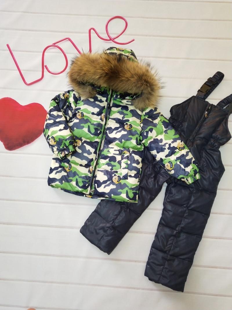 Collection Here 80cm -140cm 2018 Winter Jacket Children Down Jackets & Pant Duck Down Fur Hooded Girl Snowsuit Boy Suit Set Outerwear Ski Suit