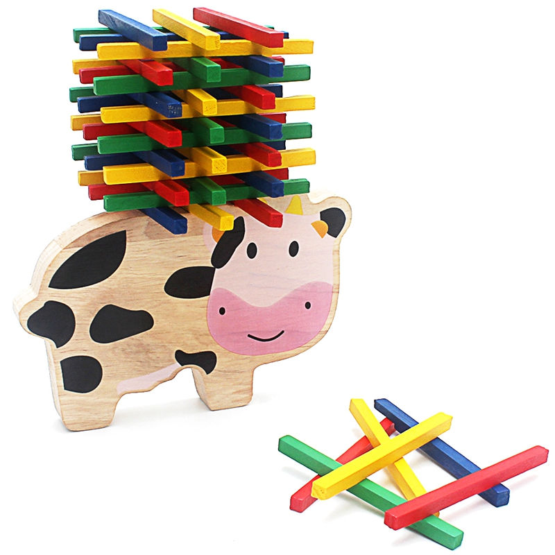 Kids Balance Building Blocks Wood Toy Lovely Cartoon Cows Blocks Toys Game For Children Table Game Play with Friends Family Game