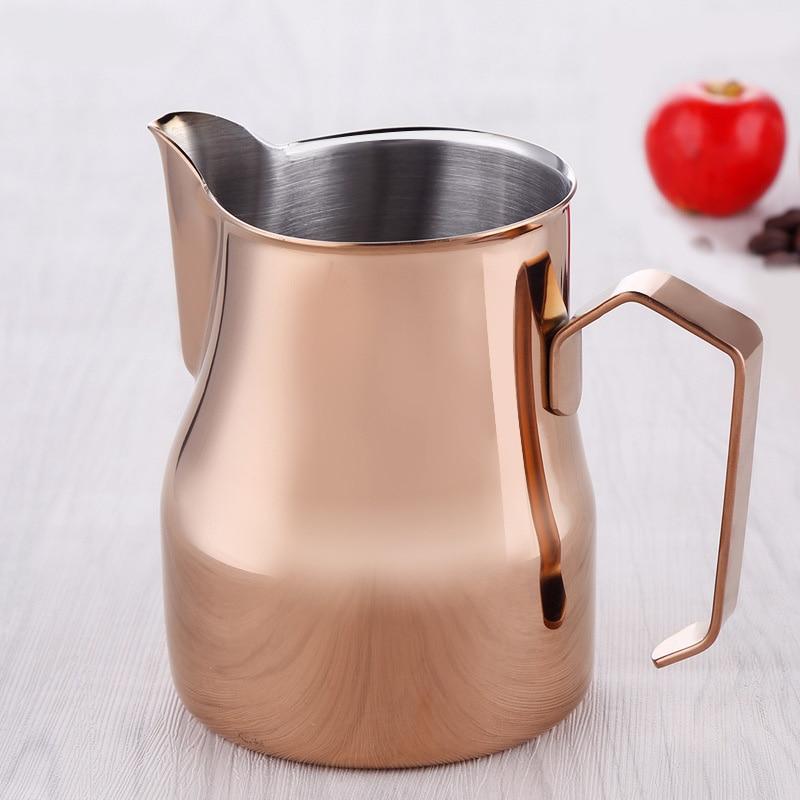 RSCHEF 1 pièces Long bec café latte tasse en acier inoxydable tirer pot bouche cylindre 550 ml expresso tasse