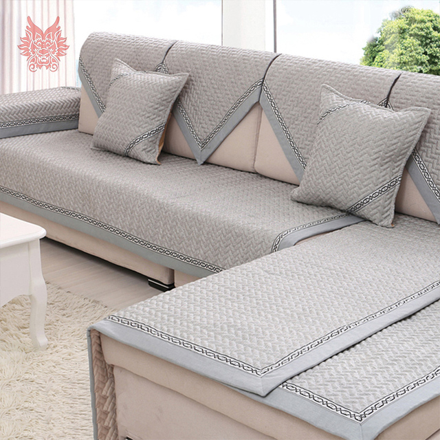 Modern Style Grey Quilted Sofa Cover 100 Linen Breathable Slipcovers For Sectional Four Seasons
