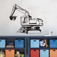 Removable Big Digger Farm Mechanical Outline Wall Sticker Transfer Decal Window Door Kids Room Stencil Vinyl