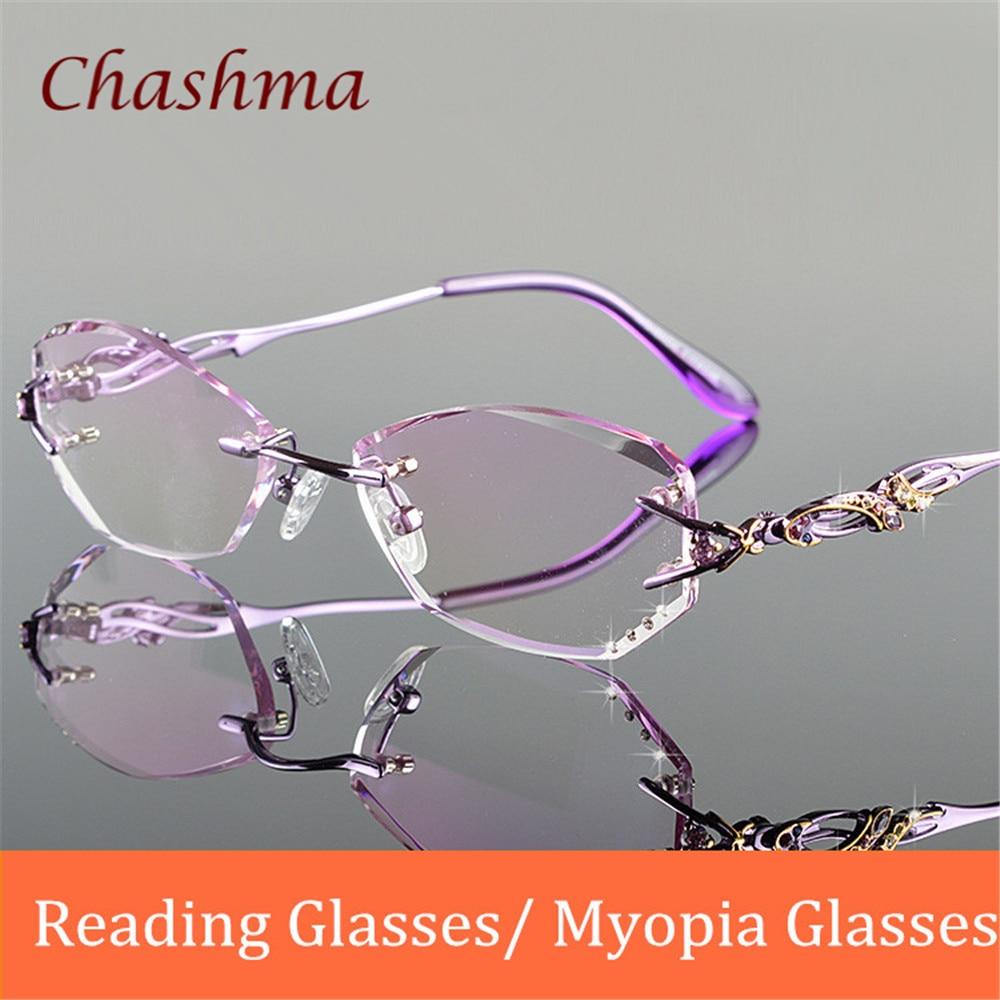 Chashma Brand Luxury Tint Lenses Myopia Glasses Reading Glasses Diamond Rimless Colored Lenses Prescription Glasses Frame